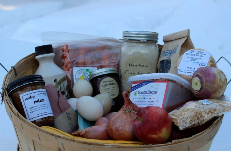 basket of winter market products