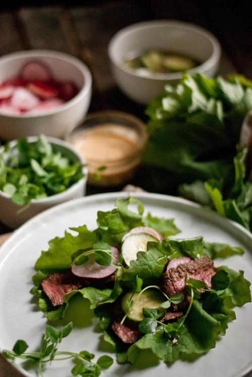 elk meat salad and inredients