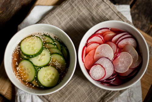marinated cucumber and radishes
