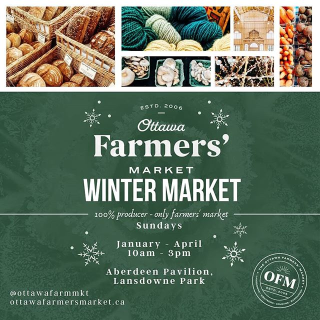Hi #Ottawa! Our first market of the year is OPEN! Until 3pm, inside the Aberdeen